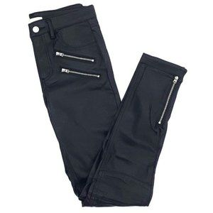 H&M Faux Leather Black Zipper Moto Skinny Pants